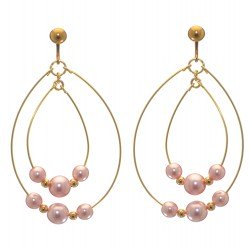 ANDROMEDA gold plated double hoop pink bead clip on earrings