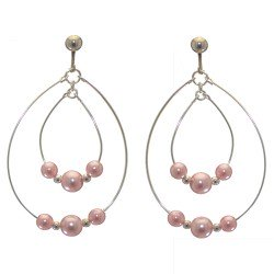 ANDROMEDA silver plated double hoop pink bead clip on earrings