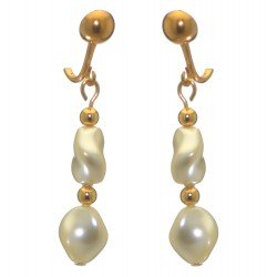 ACCALIA gold plated cream Swarovski elements wave pearl clip on earrings