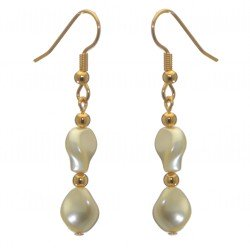 ACCALIA gold plated cream Swarovski elements wave pearl hook earrings