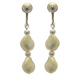 ACCALIA silver plated cream Swarovski elements curved pearl clip on earrings