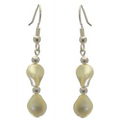 ACCALIA silver plated cream Swarovski elements curved pearl hook earrings