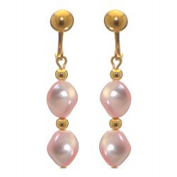 ACCALIA gold plated pink Swarovski elements curved pearl clip on earrings
