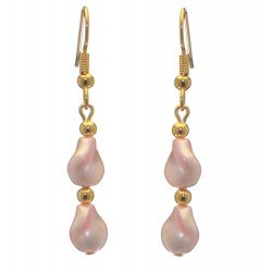 ACCALIA gold plated pink Swarovski elements wave pearl hook earrings