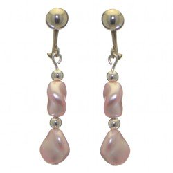 ACCALIA silver plated pink Swarovski elements curved pearl clip on earrings