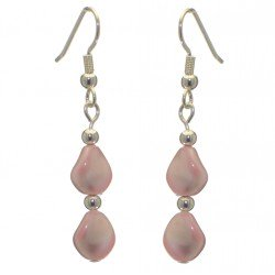 ACCALIA silver plated white Swarovski elements wave pearl hook earrings