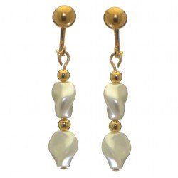 ACCALIA gold plated white Swarovski elements curved pearl clip on earrings