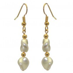 ACCALIA gold plated white Swarovski elements curved pearl hook earrings