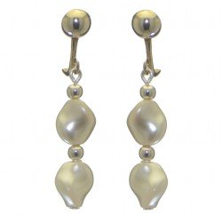 ACCALIA silver plated white Swarovski elements curved pearl clip on earrings
