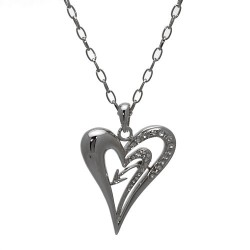 Carefree Silver tone Crystal Heart Necklace