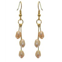 ADDIE DROPS gold plated triple cream multi coloured hook earrings