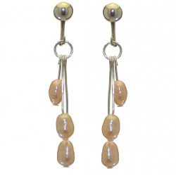 ADDIE DROPS silver plated triple cream multi coloured clip on earrings