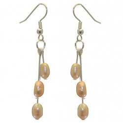 ADDIE DROPS silver plated triple cream multi coloured hook earrings