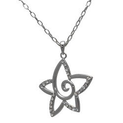 Ephemeral Silver tone Crystal Star Necklace