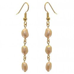ADDIE LINKS gold plated triple cream multi coloured hook earrings
