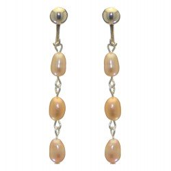 ADDIE LINKS silver plated triple cream freshwater pearl clip on earrings