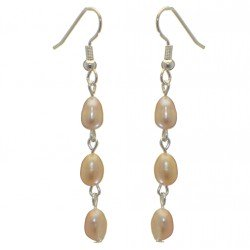 ADDIE LINKS silver plated triple cream freshwater pearl hook earrings