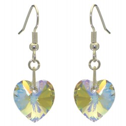 VALENTINE silver plated crystal AB heart hook earrings