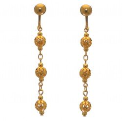 ANEKSI gold plated triple linked ball clip on earrings