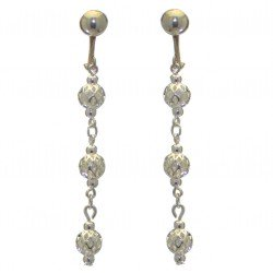 ANEKSI silver plated triple linked ball clip on earrings