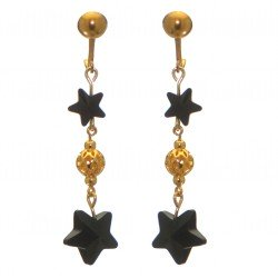 STARS and BALL gold plated jet black STARS and BALL clip on earrings