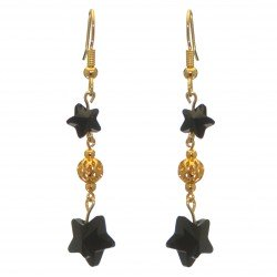 STARS and BALL gold plated jet black STARS and BALL hook earrings