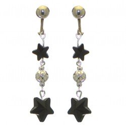 STARS and BALL silver plated jet black STARS and BALL clip on earrings