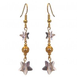 STARS and BALL gold plated light amethyst STARS and BALL hook earrings