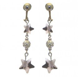 STARS and BALL gold plated light amethyst STARS and BALL clip on earrings
