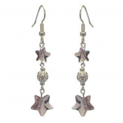 STARS and BALL silver plated light amethyst STARS and BALL hook earrings