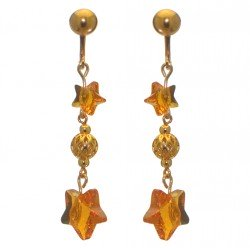 STARS and BALL gold plated topaz STARS and BALL clip on earrings