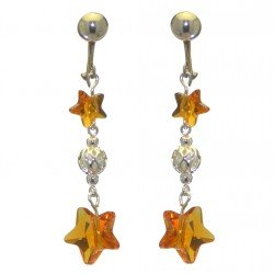 STARS and BALL silver plated topaz STARS and BALL clip on earrings