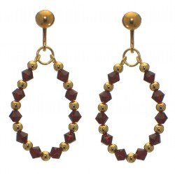 ADEOLA OVAL gold plated siam red crystal hoop clip on earrings