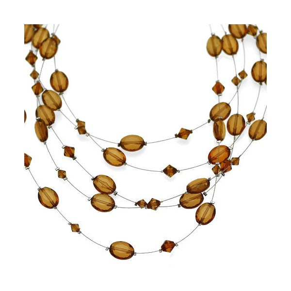 Elation Silver tone Wire Amber Multi Necklace qmf8zXmtH