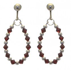 ADEOLA OVAL silver plated siam red crystal hoop clip on earrings