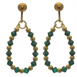 ADEOLA OVAL gold plated emerald green crystal hoop clip on earrings