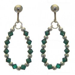 ADEOLA OVAL silver plated emerald green crystal hoop clip on earrings