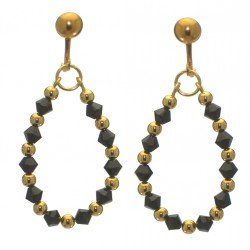 ADEOLA OVAL gold plated jet black crystal hoop clip on earrings