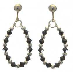 ADEOLA OVAL silver plated jet black crystal hoop clip on earrings