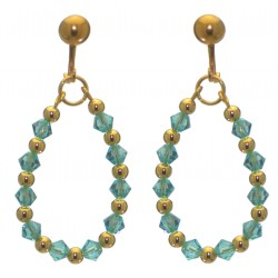 ADEOLA OVAL gold plated turquoise crystal hoop clip on earrings