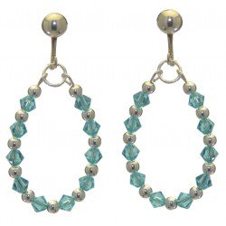 ADEOLA OVAL silver plated turquoise crystal hoop clip on earrings