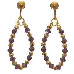 ADEOLA OVAL gold plated amethyst crystal hoop clip on earrings