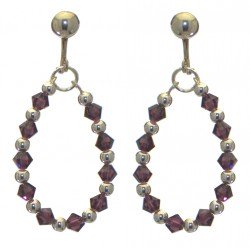ADEOLA OVAL silver plated amethyst crystal hoop clip on earrings