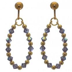 ADEOLA OVAL gold plated tanzanite crystal hoop clip on earrings