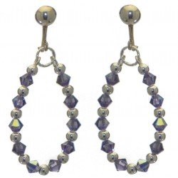ADEOLA OVAL silver plated tanzanite crystal hoop clip on earrings