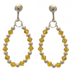 ADEOLA OVAL silver plated sunflower yellow crystal hoop clip on earrings