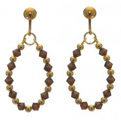 ADEOLA OVAL gold plated smoke topaz crystal hoop clip on earrings