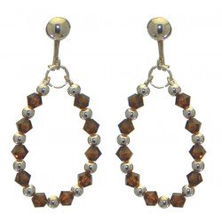 ADEOLA OVAL silver plated smoke topaz crystal hoop clip on earrings