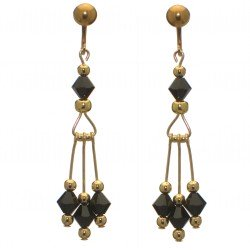 ADELHEID gold plated swarovski elements jet black crystal clip on earrings