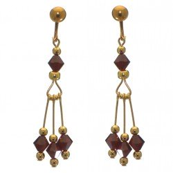 ADELHEID gold plated swarovski elements siam red crystal clip on earrings